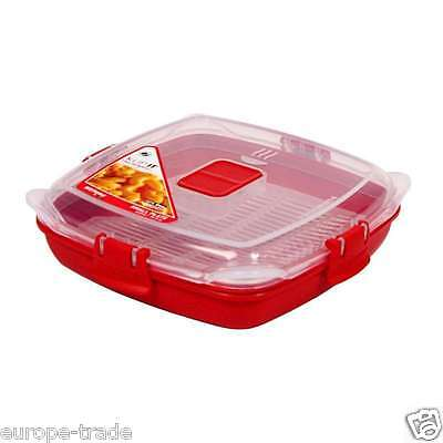 Sistema Small Microwave Plate Removable Poaching Cooking 440ml NEW Red