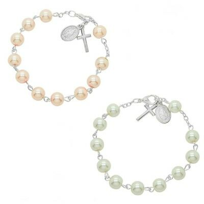 Pearl Rosary Bracelets. Pink or White. Catholic Prayer Beads. Gift Pouch & Card