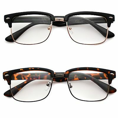 clubmaster sunglasses womens vn8l  New Hipster Clubmaster Clear Lens Nerd Frames Glasses Mens Womens Half Metal