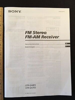 Sony STR-GA8ES & STR-GA7ES AV Receiver Original Owners Manual 30 English pages