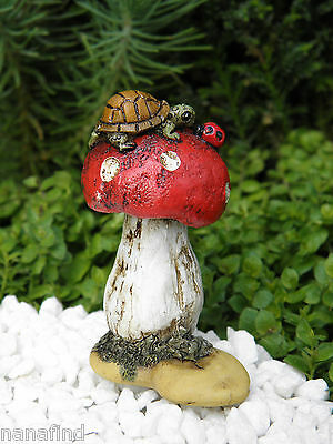 Miniature Dollhouse FAIRY GARDEN ~ Mini Turtle & Ladybug on Mushroom ~ NEW