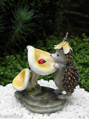 Miniature Dollhouse FAIRY GARDEN ~ Hedgehog with Ladybug Figurine ~ NEW