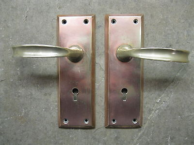 Pr Original Reclaimed Brass Copper Plate Door Handles 0217