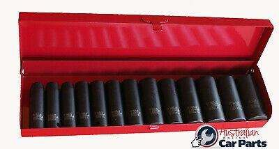 "Metric Impact deep socket set 6Pt 3/8""Dr 13Pc  8mm - 21mm T&E Tools 98313L NEW"