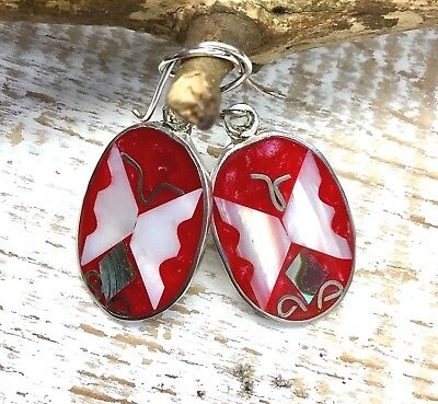 MEXICAN EARRINGS Butterfly Design Sterling Silver Plated Red Abalone Shell Inlay