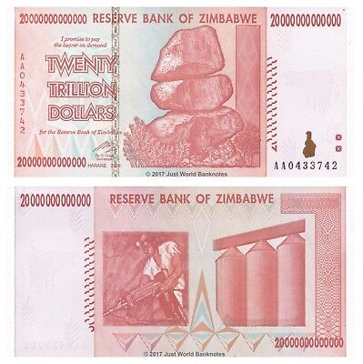 Zimbabwe 20 Trillion Dollars 2008 P-89 Banknotes aUNC About Uncirculated