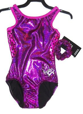 GK Elite Gymnastics Leotard Adult Small Sangria/Fuchsia/Berry/Black FREE SHIP!