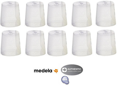 (10) Medela clear travel caps / nipple caps/ bottle caps - Genuine - new