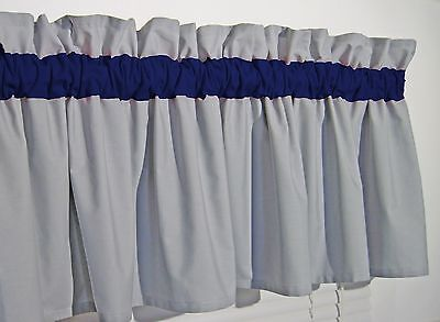 Dark Navy Blue and Gray Window Curtain Valance Nautical Bath Bedroom FREE SHIP