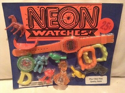 Vintage 1980's Retro NEON WATCHES teeth Whistle Birds Vending Toy Display Card