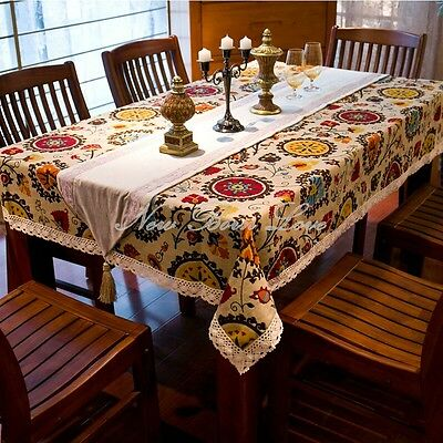Mediterranean Style Sunflower Lace Cotton Linen Table Cover Tablecloth 140x180cm