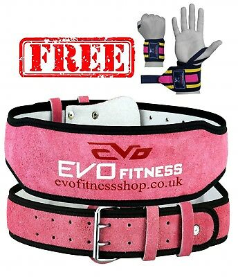 """EVO 6"""" 4"""" Ladies Pink Pure Leather Gym Belts Weightlifting Back Support Strap"""