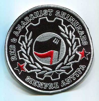 Red & Anarchist Skinheads Siempre Antifa Patch (Mbp 236)