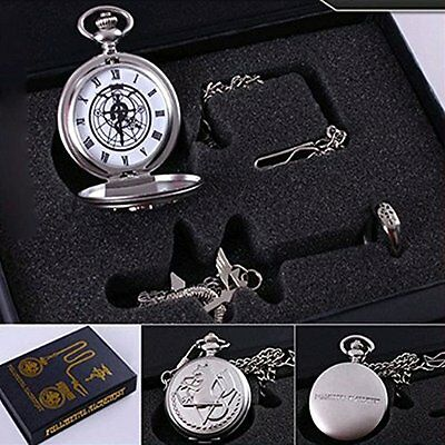 Fullmetal Alchemist Anime Pocket Watch & Necklace & Ring Cosplay Prop Accessorie