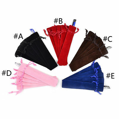 5 pièces Velours Stylo Pochette Support Simple Stylo Sac Trousse Corde
