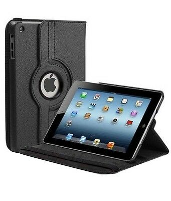 360 Degree Rotation Smart Leather Stand Case Cover For Apple iPad 2 3 4 - Black