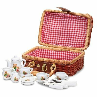 Teddy Bear Picnic Mini Tea Set Wicker Hamper Girls Toy Christmas Stocking Filler