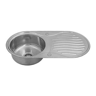 Stainless Steel 1.0 Single Bowl Reversible Round Inset Kitchen Sink Drainer 1204