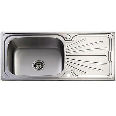 New Large Stainless Steel Single Bowl Inset Kitchen Sink With Plumbing Kit Z1202