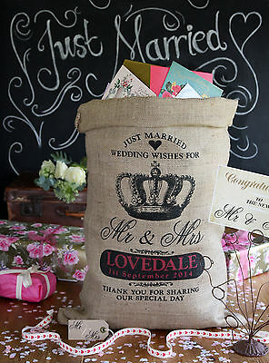 Personalised Wedding Post Box Sack, Card holder, Wishing Well, Crown design