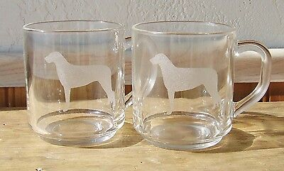 Irish Wolfhound Etched Mugs.  Set of 2.  Made in France.
