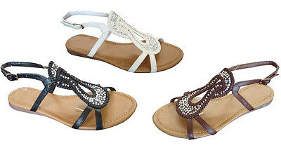 WHOLESALE LOT 24 Pairs Women's Crystal Stone Gladiator Flat Sandals**(8044)
