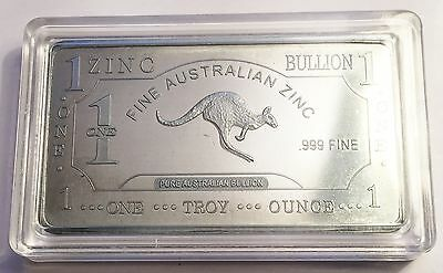 "1 Oz ""Kangaroo"" 999 Solid Zinc Ingot  50mm x 28mm x 3 mm Bargain Clearance Sale"