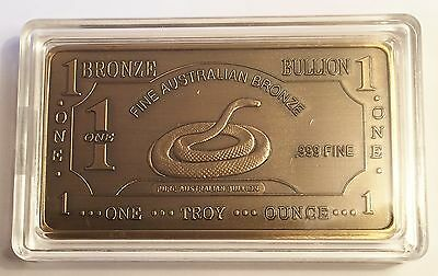 "1 OZ ""B/Snake"" 999 Solid Bronze Ingot  50mm x 28mm  Bargain Clearance Sale"