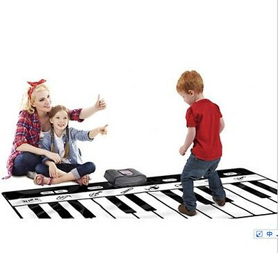 Big Floor Piano Mat Giant Toy Keys Play Step On Record Playback White Black Fun