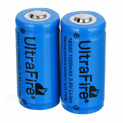 2xpcs 16340 3.7V Rechargeable Li-ion Battery 1200mAh for Flashlight Laser Torch