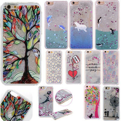 Dynamic Liquid Glitter Quicksand 3D Pattern Hard Case Cover For iPhone X 7 6s 6
