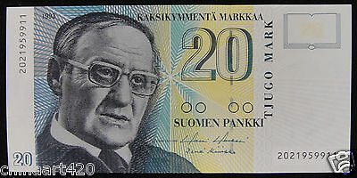 Finland Banknote 20 Markka 1993 UNC,  First Edition
