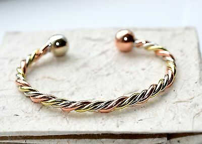 Fair Trade, copper and brass, torque bracelet, from Mexico, adjustable size,NEW
