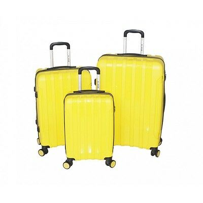 NEW Lightweight Suitcase Luggage Hard Shell 3 Set 4 Wheels Spinner Case YELLOW