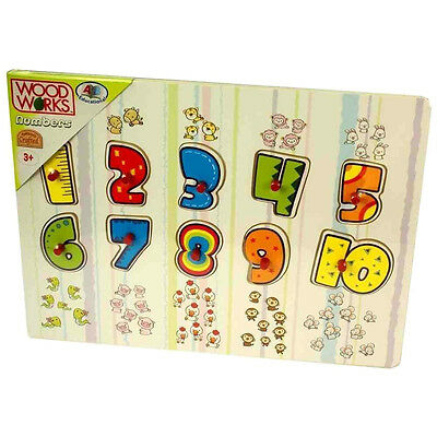 Woodworks Children's Kids Wooden Numbers Peg Puzzle For Preschoolers & Toddlers