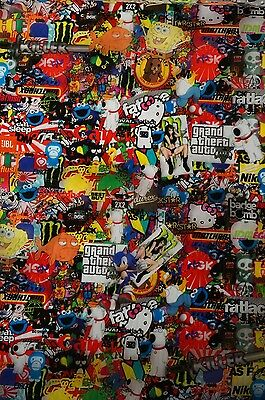 "Hydrographic film sticker bomb ""Cartoon"" water transfer printing film HugasLTD"