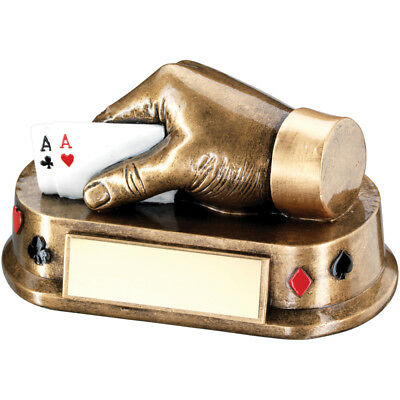 Poker Cards Hand heavy Trophy in 2 Sizes with FREE Engraving up 30 Letters