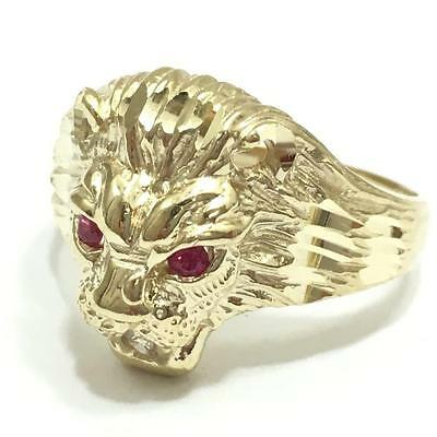 New 10K Yellow Gold 20 Mm Wide Two Tone Lion Face Head Hip Hop Style Ring