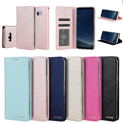 Luxury Wallet Silk Leather Magnetic Flip Case Cover For Apple / SamSung Phone