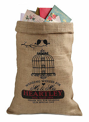 Personalised Wedding Post Box Sack, Card holder, Wishing Well, Birdcage design
