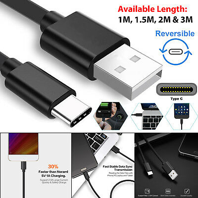 1M 1.5M 2M & 3M Extra Long Heavy Duty Sync Charge Type C USB-C 3.1 Charger Cable