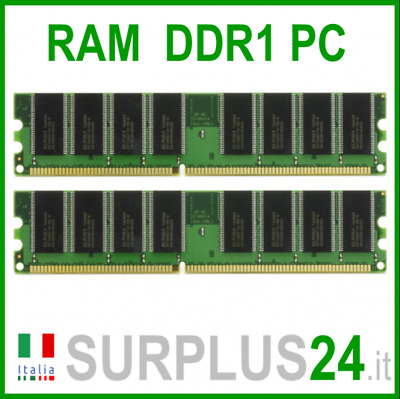 KIT RAM 2GB (2x 1GB) 3200U DDR1 400Mhz 184pin Memoria x DESKTOP PC3200 No Ecc