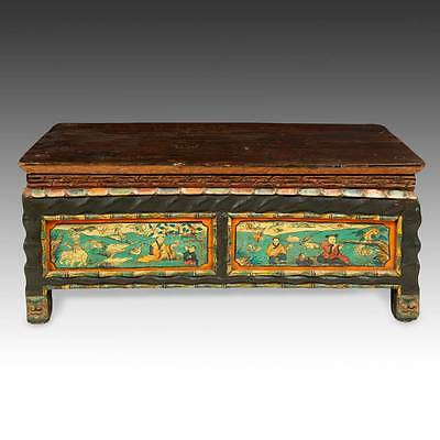 Antique Monk's Writing Table Painted Pine Mongolia Chinese Furniture 19Th C.