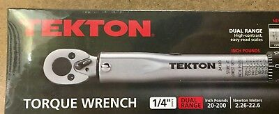 """Tekton Torque Wrench Click Ratcheting Reversing 1/4"""" Drive 20-200 inch pound"""
