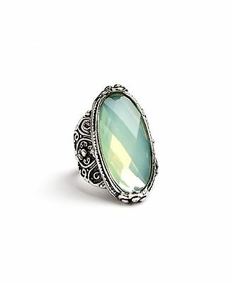 Large Cocktail Statment Ring Ornate Victorian Setting Colorful Crystal