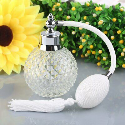 Vintage Crystal Scent Perfume Bottle Long Spray Atomizer Glass White Lady Gift