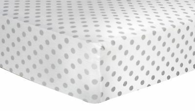 Gray Dot Deluxe Flannel Fitted Crib Sheet