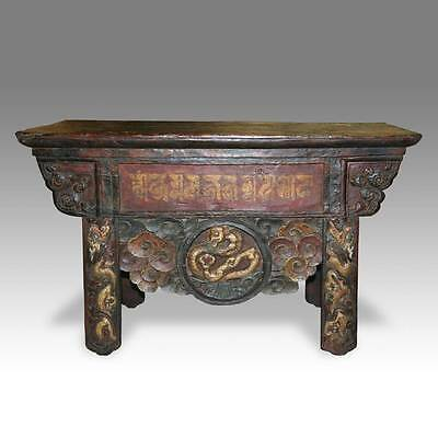 Antique Monk's Writing Table Painted Pine Tibet Chinese Furniture 19Th C.