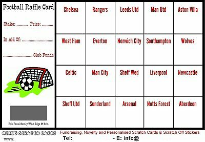 25 x A6 Football Fundraising Raffle Cards / Scratch Cards (20 UK Teams) New