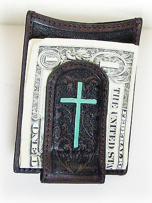 Ariat Western Leather Money Clip Credit Card Holder Tooled Brown Cross